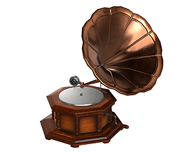 3D model realtime PBR Gramophone