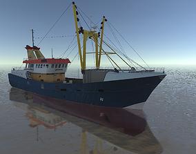 low-poly Beam Trawler fishing ship low-poly 3d model