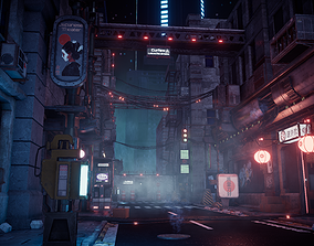 Cyberpunk City Modular Kit 3D model