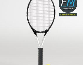 3D model Tennis ball and racket set