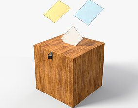 3D asset Election Vote box with Padlock and Envelope PBR