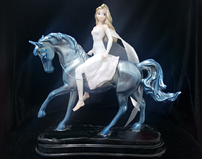 ELSA WHITE DRESS ON HORSE MODEL