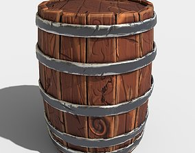 Stylized Barrel 3D asset low-poly