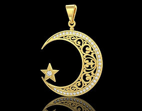 3D printable model Crescent moon and star muslim pendant