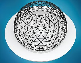 Dome triangulated wire frame structure large 3D model