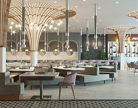 Modern Restaurant 3D model drinks