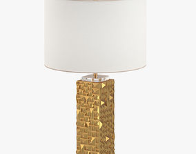 Gold And White Round Desk Lamp 3D model