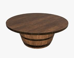3D model Wooden barrel coffee table
