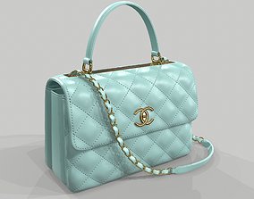 3D Chanel Small Flap Bag With Top Handle Light Blue