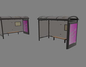 3D asset VR / AR ready metal Bus Stop