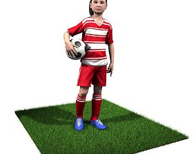 Youth Girl Soccer Player Rigged 3D model rigged