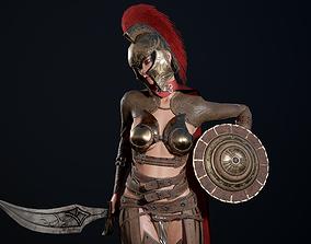 3D asset animated Gladiator Girl