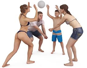 Beach Volleyball Players x4 3D male