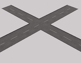 Crossroad with street dash lines - 3D model