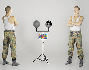 3D asset Military young man in white tank top 263