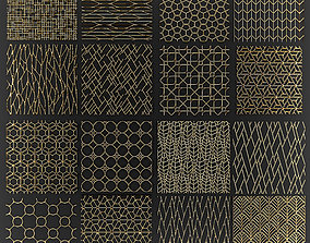 3D Collection of golden lattice grille