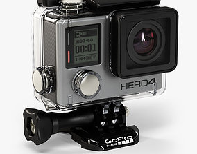 3D asset GoPro HERO4 Silver Edition action camera with 1