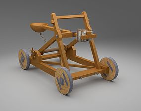 Catapult in Medieval War Equipments 3D model low-poly