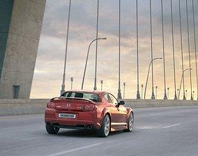 3D model Red Mazda Rx 8 On The Bridge