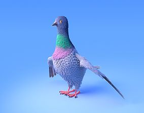 3D model Pigeon with feather system - Cartoon style
