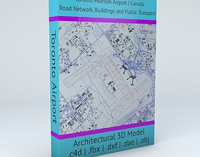 3D Toronto Pearson YYZ Airport Roads Buildings and 1