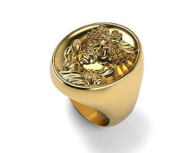 3D print model Round Signet Tattoo Woman Face Ring 5
