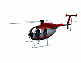 3D asset game-ready Low-poly Helicopter