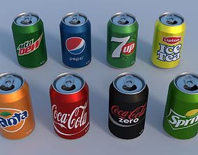3D model Soda cans PBR mountain