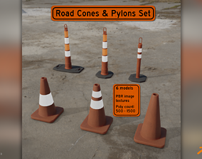 Road Cones and Pylons Pack 3D model