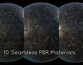 Black marble tiles PBR material pack 3D asset realtime