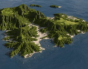Low Poly Floating Island 3D model low-poly | CGTrader
