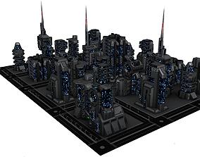 SciFi Building set 3D asset