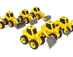 car toy truck excavate bulldozer rollers saw pick 3D model
