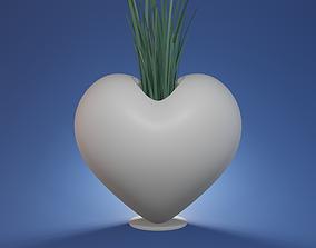 Succulent plant pot geometric heart B2017 3D print model
