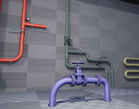 props Modular Pipes 3D asset low-poly