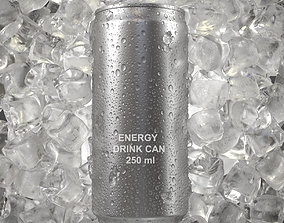 3D model Energy Drink Beverage Can with Ice Cubes 250ml