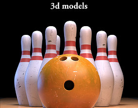 Bowling Ball and Pins 3D model