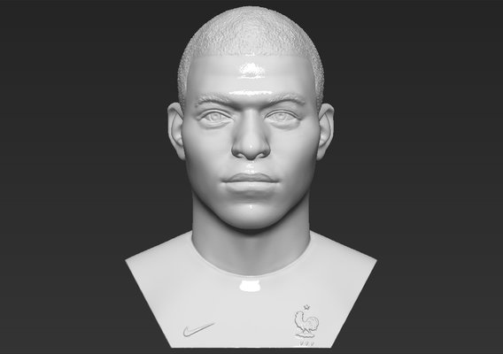 Kylian Mbappe bust for 3D printing