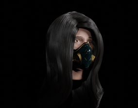 Long Hair with rigged eyes 3d model rigged