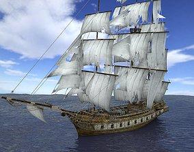 3D asset Brig sailing ship pack