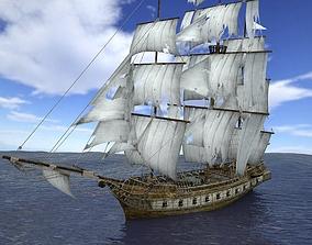 Brig sailing ship pack 3D asset low-poly