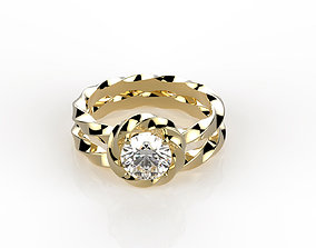 Round cut engagement ring with 3D printable model 1