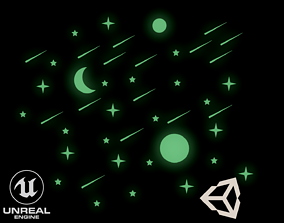 3D asset Glowing Stars