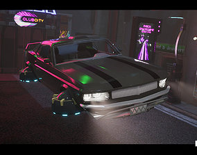 Driveable Animated Retro Cyberpunk Hover Car 3D model 1