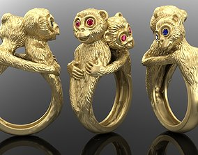 Ring with cute monkey 3D print model