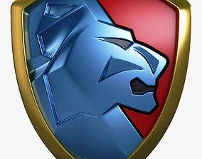Lion Shield Insignia v 2 3D