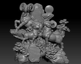 Three rams 3D printable model