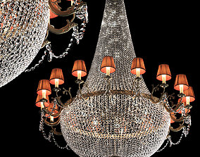 3D model Large classic brass and crystal chandelier