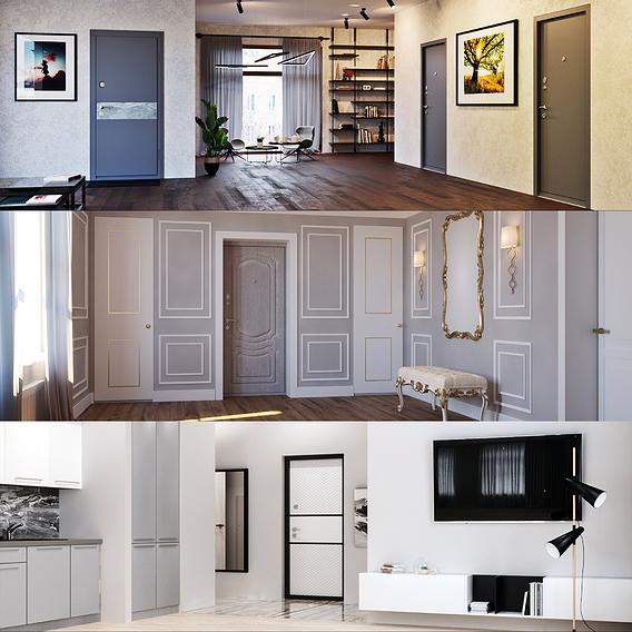 Doors in interiors&exteriors
