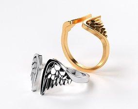 3D print model beautiful golden wings ring